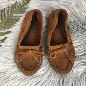 Minnetonka Brown Leather Moccasins size 10